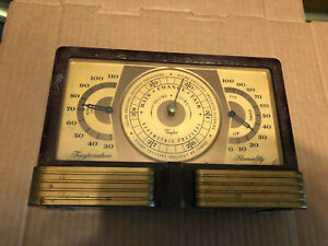 Vintage Art Deco Taylor Weather Station Barometer Brass Thermometer Gauge Tool