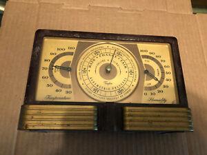 Vintage-Art-Deco-Taylor-Weather-Station-Barometer-Brass-Thermometer-Gauge-Tool