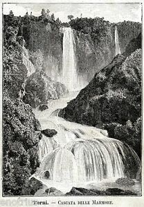 Terni: Cascata delle Marmore. Valnerina.Umbria.Stampa Antica + Passepartout.1891