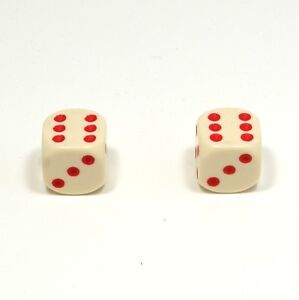 1-Pair-of-Ivory-Red-Spots-Dice-Dust-Caps-for-BMX-80-039-s-Retro-Valve-Caps