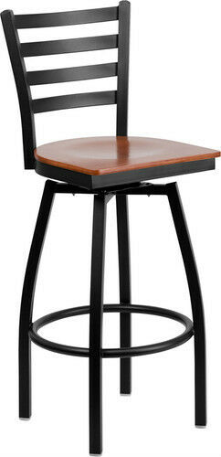 Black Ladder Back Swivel Metal Bar Stool with Cherry Finish Wood Seat