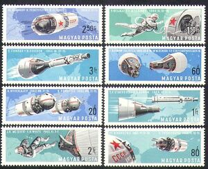 UNGHERIA-1966-TWIN-VOLI-SPAZIALI-RAZZI-astronauti-trasporto-Set-8v-n36804