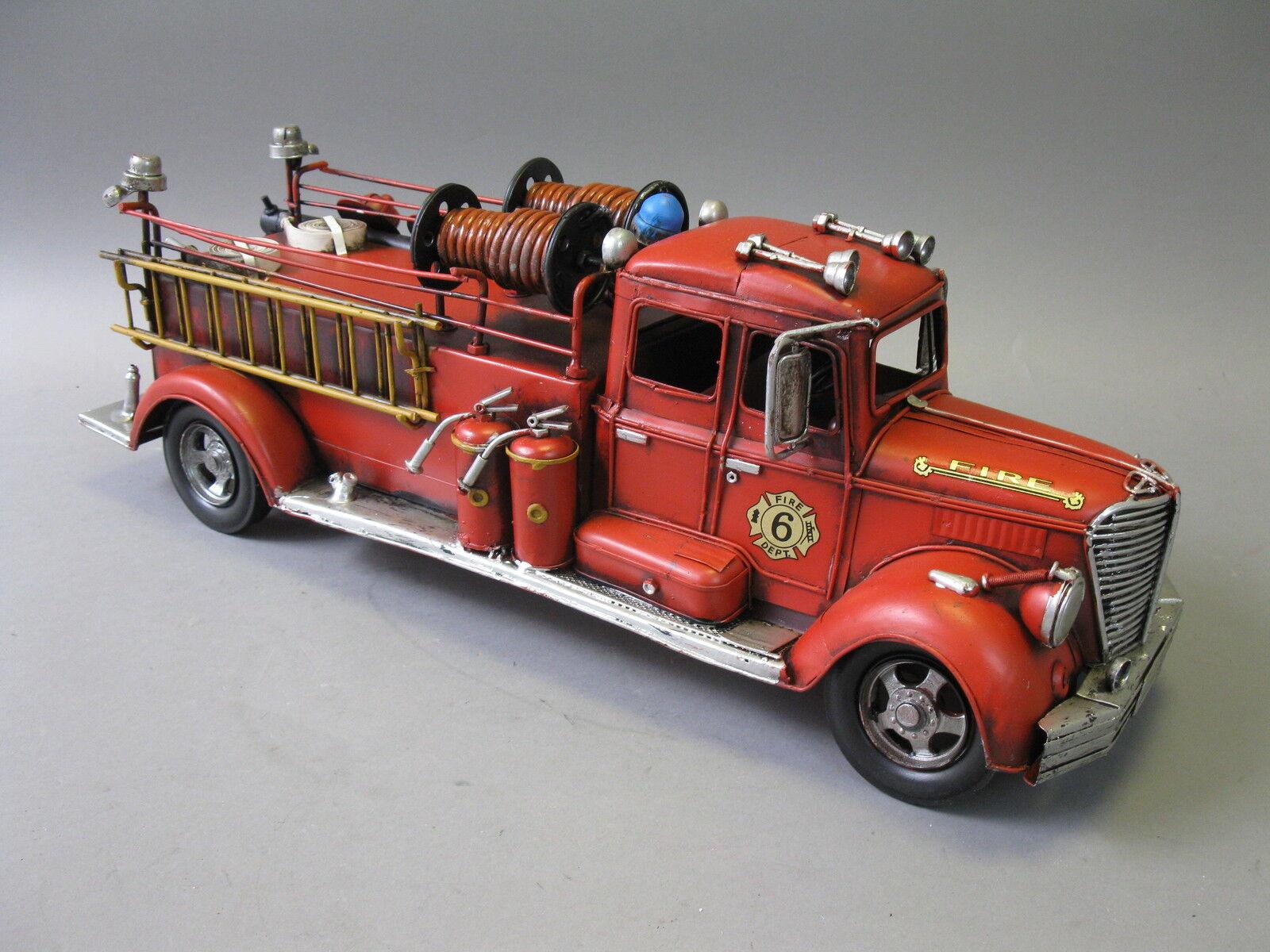 Vieja bomberos maqueta de coche auto de chapa 50cm bomberos Oldtimer auto