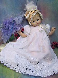 """Vintage BABY DOLL clothes GOWN dress WHITE cotton EYELET embroidered LACE 20-26"""""""