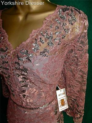 New MONSOON Dusky Pink & Pewter Beaded 'ANAIS' Fitted Lace Thalia Cocktail Dress