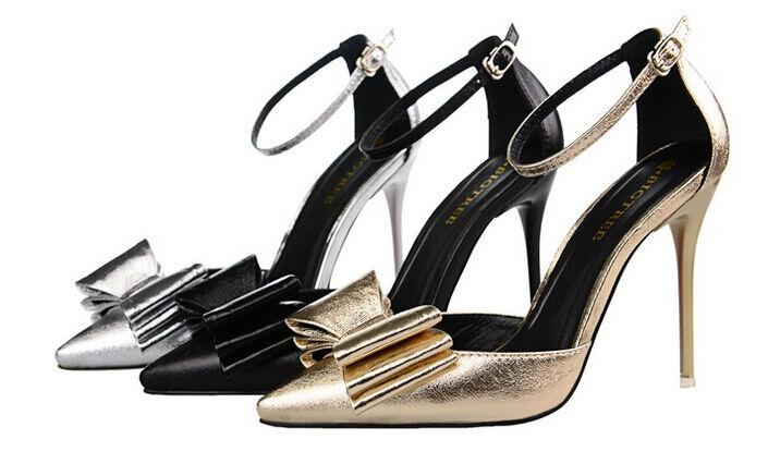Décollte Schuhe decolte stiletto stiletto decolte Sandale 10 cm nero oro argento  8649 1c31b9