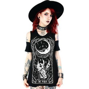 Restyle Occult Gothic Witchcraft Wicca Punk Cut Out Cold Shoulder Top T-shirt