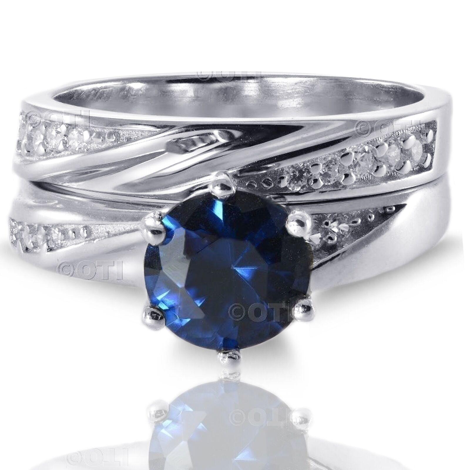Zaffiro Blu Sfavillanti rossoondo rossoondo rossoondo Fidanzamento Anello argentoo Sterling Set 2.35 653084
