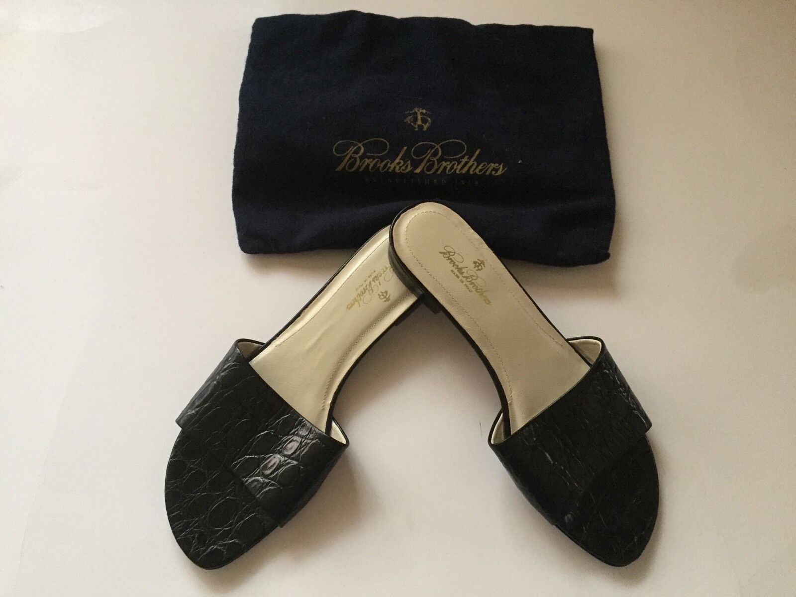 BROOKS BredHERS NEW WOMAN LEATHER BLACK MULES SHOES Size 7M MADE IN ITALY