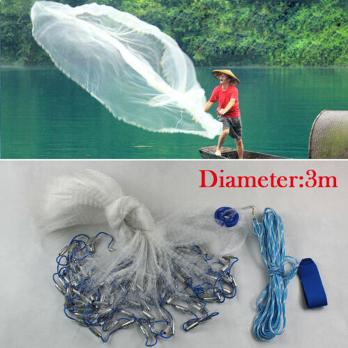 10//14//18//22ft Hand Cast Fishing Net Dense Mesh Fish Net Spin Network w//Sinker US