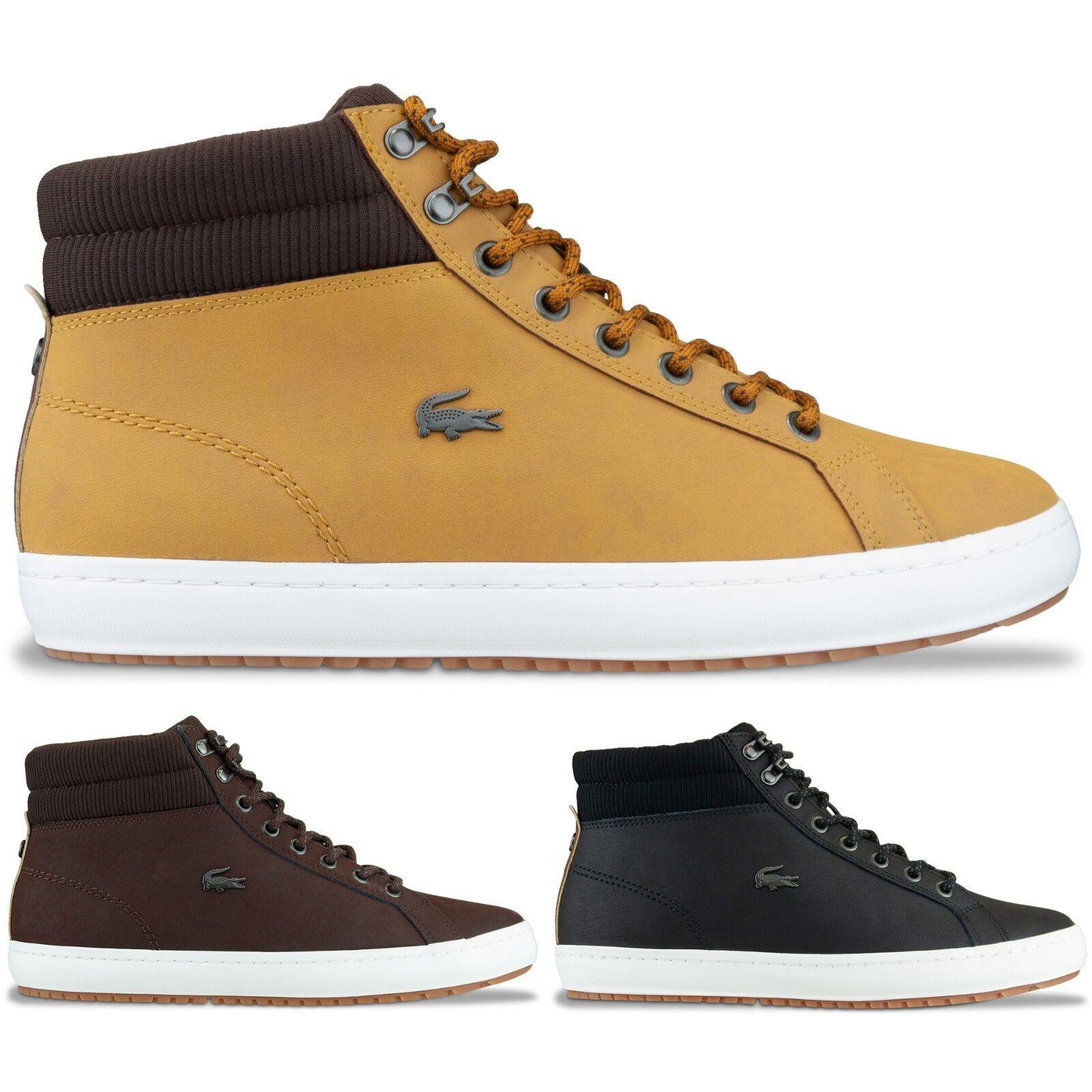 Lacoste botas-Lacoste Straightset Aislado Bota De Cuero-Negro, Marrón, Bronceado