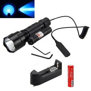 Tactical-5000Lm-XML-Q5-Blue-Light-LED-Flashlight-Gun-Mount-Red-Dot-Laser-Sight