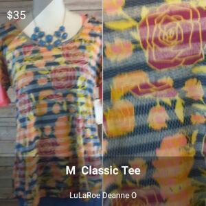 Nwt T Floral Lularoe stripe Medium Classic wrqT8wz