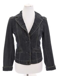 CAbi-Jeans-Womens-Fitted-Tailored-Denim-Jacket-Pleated-Stretch-Blue-Sz-Small
