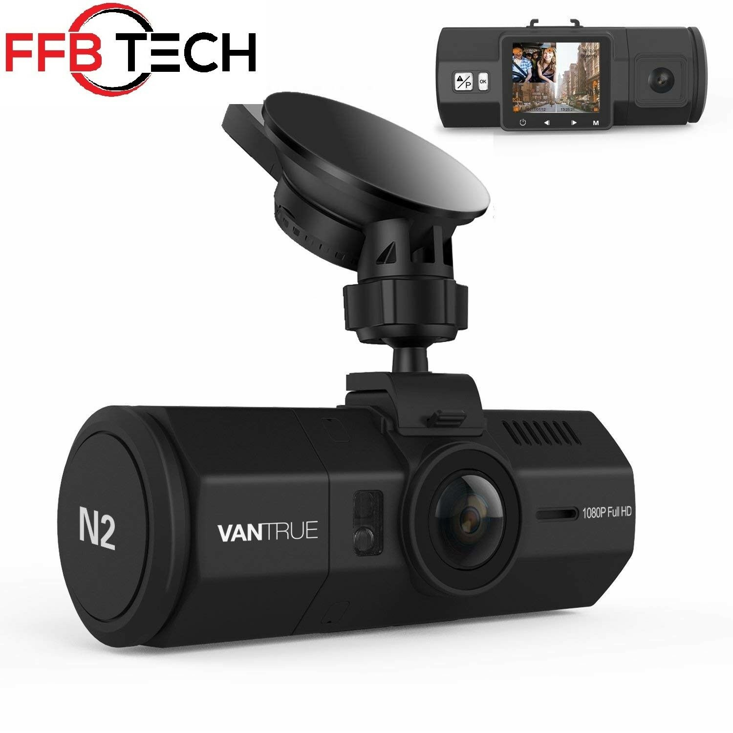 s-l1600 Vantrue N2 Dual Dash Cam-1080P FHD +HDR Front and Back Wide Angle Dual Lens