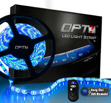 OPT7 16ft Blue LED Light Strips w/ REMOTE 300 SMD Bright Flexible Waterproof 12v