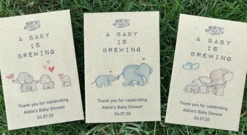 20 X Personalised Tea Bag Packets Baby Shower Favour Baby Is Brewing Gift