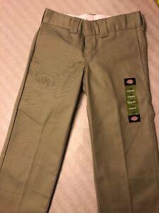 Nuevos Pantalones De Trabajo Dickies Para Hombres Talla W 28 X 30 L Tan Pantalones Plano Frente Slim Fit Nueva Con Etiquetas Ebay