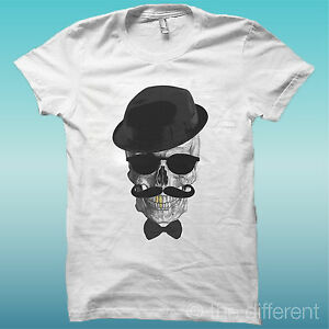 T-SHIRT-SKULL-CAPPELLO-ORO-PAPILLON-TESCHIO-THE-HAPPINESS-IS-HAVE-MY-T-SHIRT-NEW