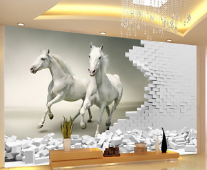 3D Two White Horses Paper Wall Print Wall Decal Wall Deco Indoor Murals
