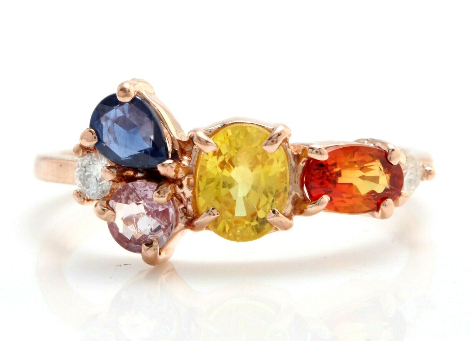 1.36 Ct Natural Ceylon Multi-color Sapphire and Diamonds in 14K pink gold Ring