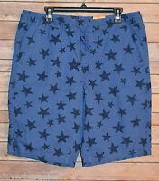 Mens Casual Shorts Sizes: M, L Elastic Waistband Drawstring Blue Navy Stars Surf