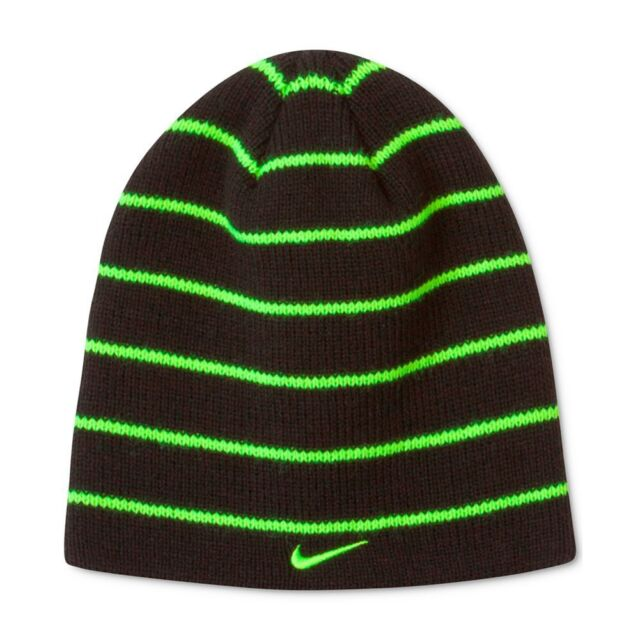 00405bf1f06 Nike Boys Girls Size 8 20 Youth Beanie Winter Hat Black   Neon Green Striped