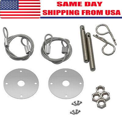 YouN Universal Racing Style Stainless Steel Mount Hood Pin Plate Bonnet Lock Kit