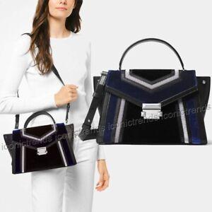 Details about NWT Michael Kors Whitney Medium Top Handle Leather Suede Satchel Black Blue