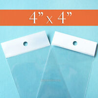 100 Square, Clear Cello Bags: 4 X 4 Inch Hang Top, Resealable Self Adhesive 4x4