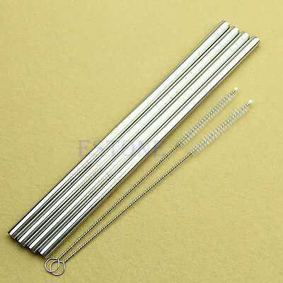 4 x STAINLESS STEEL STRAIGHT DRINKING STRAW REUSABLE WASHABLE + 2 CLEANER BRUSH