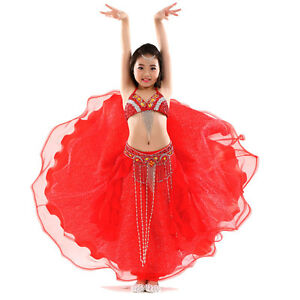 K18-Professionale-BAMBINI-Costume-Danza-Ventre-REGGISENO-Cintura-Gonna