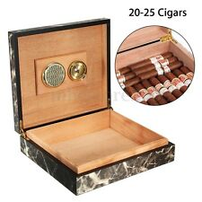 Black Cedar Wood Lined Cigar Storage Case Box with Humidor Humidifier Hygrometer