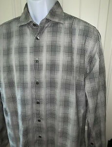Jhane-Barnes-Plaid-Button-Up-Shirt-Sz-LARGE-Gray-Black-Cotton-Spread-Collar-EUC