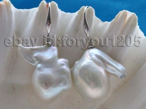 Natural 22x24mm White Baroque Reborn Keshi pearl Earrings 925silver #f2776!