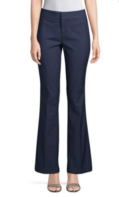 Saks Fifth Avenue Mid-Rise Flared Navy New with tags Dress Pants 8