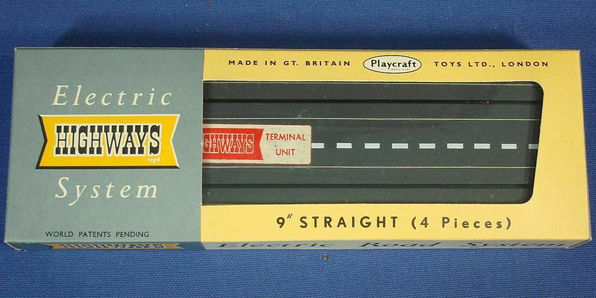 Vintage PLAYCRAFT TOYS Model Motoring Electric Highways Système 9 in (environ 22.86 cm) tangentes