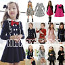 Baby Girls Kids Clothes Long Sleeve Princess Dress Outfit Preppy Casual Costume