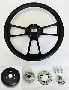 Nova-Impala-Chevelle-Monte-Carlo-Steering-Wheel-Black-on-Black-14-034-SS-Center-Cap