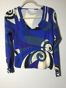 emilio-pucci-Womens-Patterned-Blouse-Top-Size-S-Long-Sleeve-Viscose-Blend