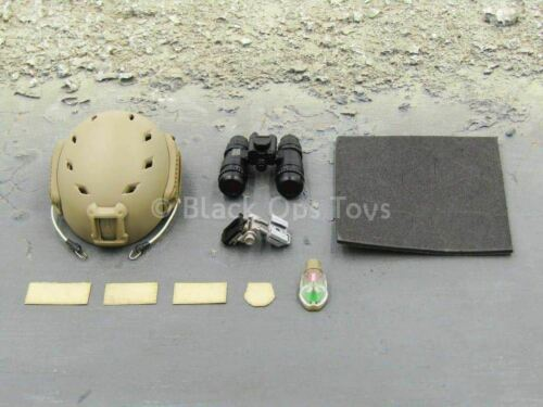 1//6 scale toy Navy SEAL Sniper Spotter Tan FAST Helmet w//NVG Set