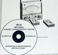 RCA WT-524A Dynamic Transistor/FET Tester Operating & Maintenance Manual