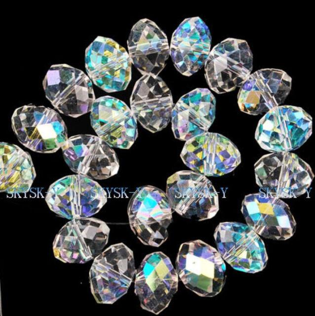 Beautiful 4*6mm  96pcs white AB Crystal Loose Beads