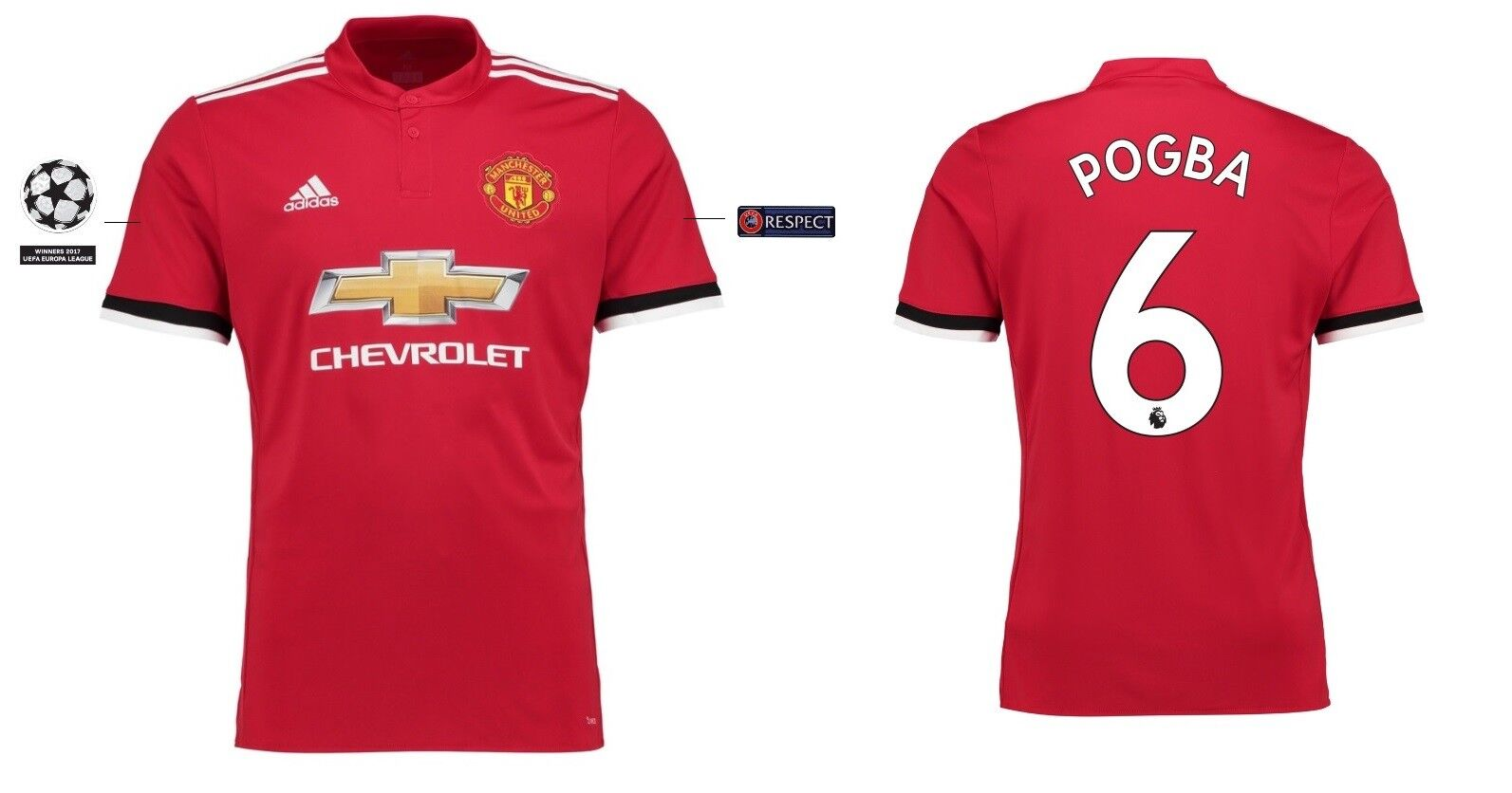 Trikot Manchester United 2017-2018 Home UCL  - Pogba 6  UCL ManU 37962a