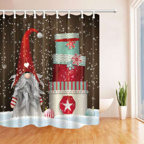 Christmas elves and gift boxes Shower Curtain Bathroom Fabric /& 12hooks 71*71in