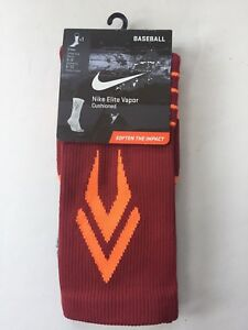 buy online 5b6bd bc947 Image is loading Nike-Elite-Vapor-Crew-Baseball-Cushioned-Socks-Red-