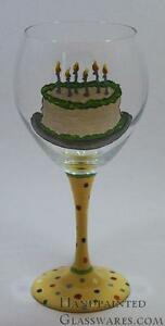 Image Is Loading Birthday Cake Hand Painted Wine Glass