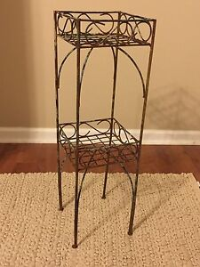 vintage shabby french 2 tier tall leg metal plant stand holder nice aged patina ebay. Black Bedroom Furniture Sets. Home Design Ideas