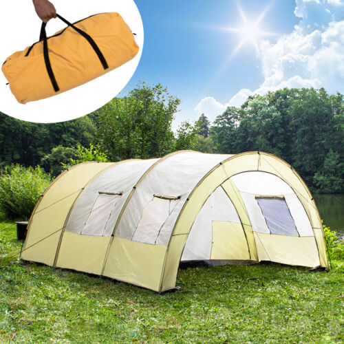 XXL CAMPING TUNNEL FAMILY TENT OUTDOOR GROUP TENTS 4-6 PERSONS MAN WITH PEGS NEW
