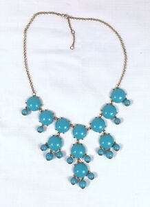 Vintage-Turquoise-Blue-Faceted-Cabochon-Gold-Statement-Necklace-Bohemian
